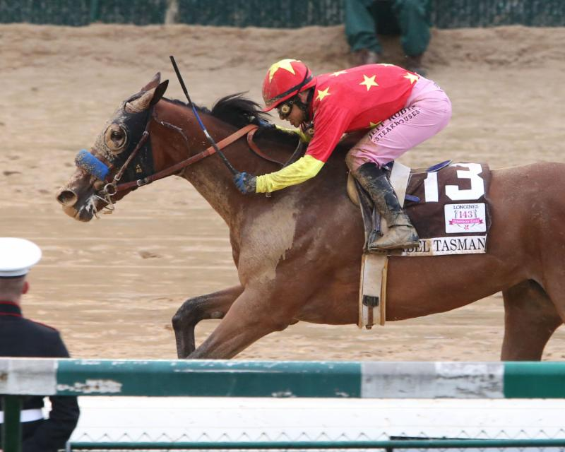 Abel Tasman Crossing the Finish Line in the Kentucky Oaks.