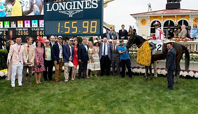 Winners Circle of Preakness Stakes. Photo Courtesy Jerry Dzierwinski Maryland Jockey Club