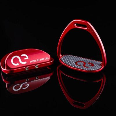 Teardrop XL Red Thoroughbred Racing Irons