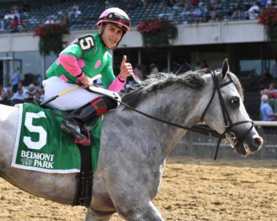 Irad Ortiz with his Pink Special Edition Teardrop XL Racing Irons. Photo courtesy of Adam Coglianese.