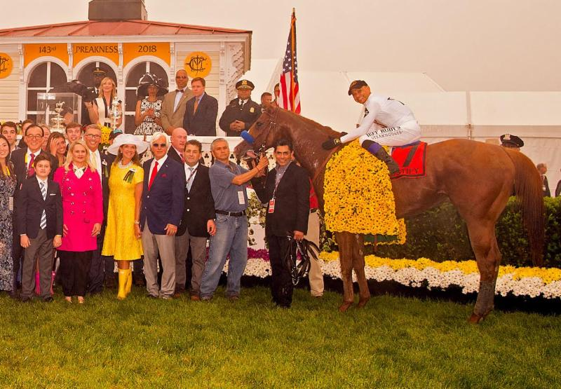 Mike Smith Wins the 143th Preakness Stakes Wearing American Equus Thoroughbred Racing Irons