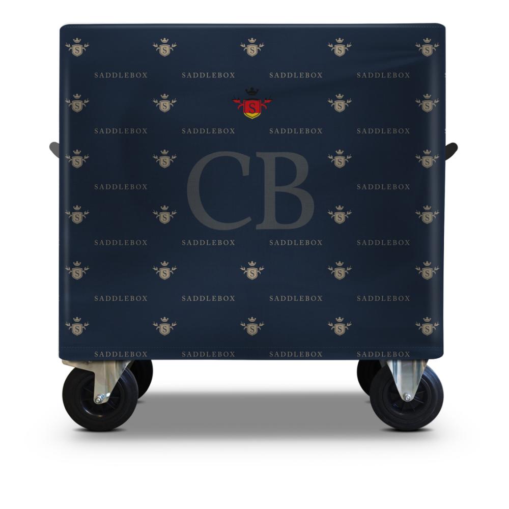 SaddleBox USA Basic Double Blue background beige logos