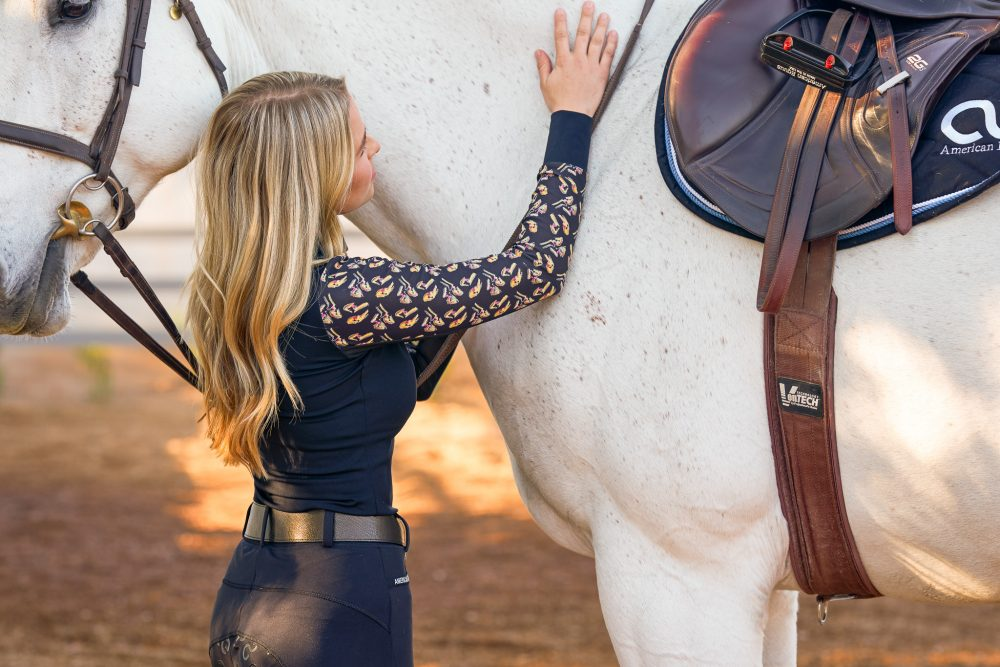 American Equus Hoof Prints Long Sleeve Sun Shirt Black