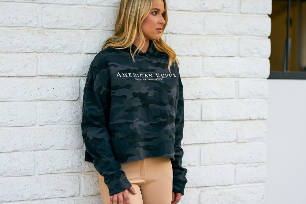 American Equus Cropped Camo Hoodie